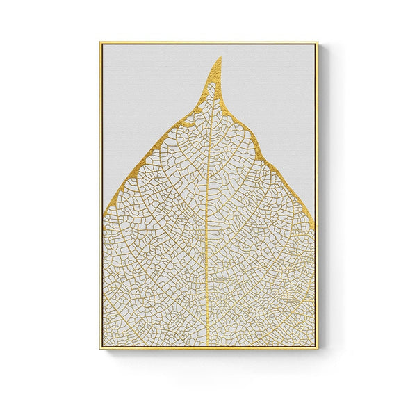 Golden abstract leaf flower Wall Art for Living Room Decor - Mia & Stitch