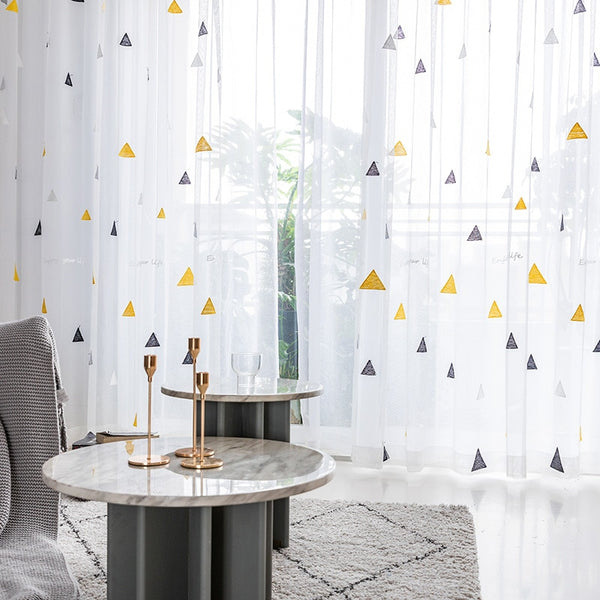 Nordic Style Triangle Tulle Curtains for Children's Bedroom Kids Window Treatments Sheer for Living Room Finished Customization - Mia & Stitch