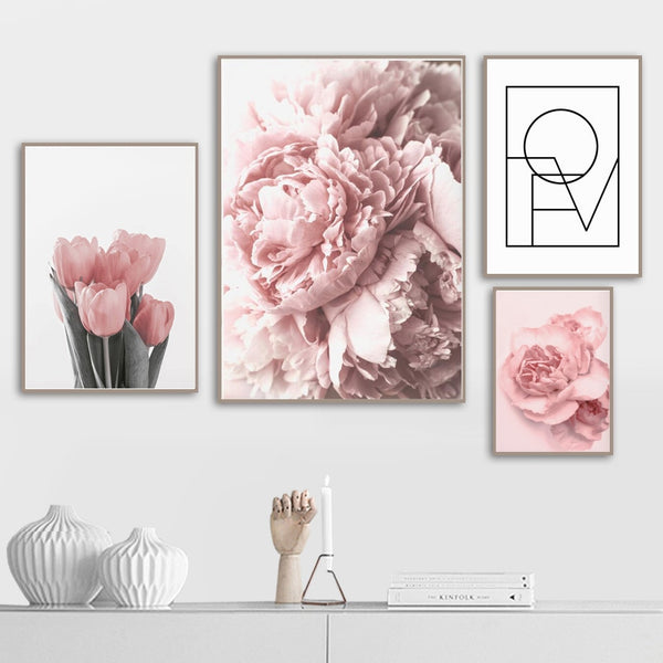 Pink Peony Tulips Rose Flower Wall Art Canvas Painting Nordic Minimalism Posters And Prints Wall Pictures For Living Room Decor - Mia & Stitch