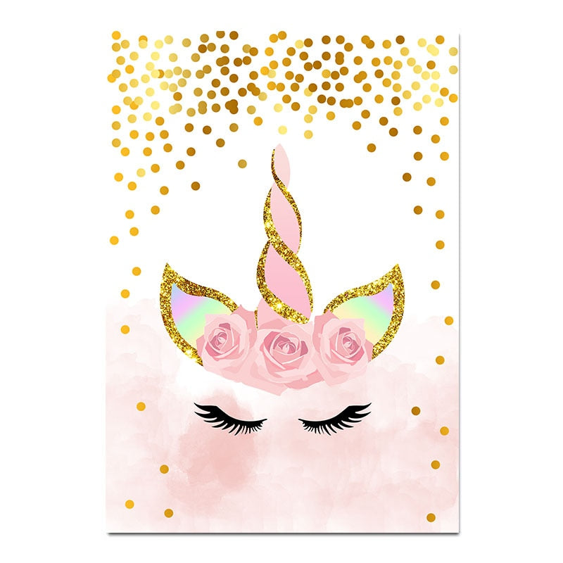 Pink Unicorn Poster Nursery Canvas Decoration for Girls' Room - Mia & Stitch