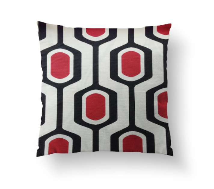 Cushion Cover - Retro Geometric Red, White and Black Beehive Pattern - Mia & Stitch