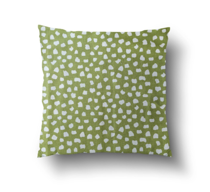 Cushion Cover - Scandinavian Style Patchy Green on White Background - Mia & Stitch