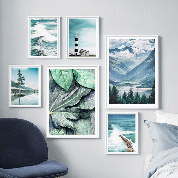 Sea Leaf Mountain Tree Landscape Wall Art Canvas Painting Posters And Prints Decoration Pictures For Living Room Decor - Mia & Stitch