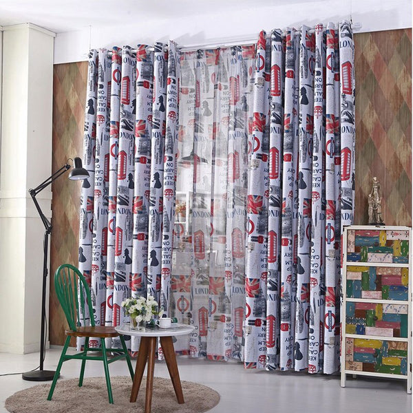 Single Panels Blackout Curtains Kids Bedroom Window Treatments Printed Scenic European Style Curtains For Children - Mia & Stitch