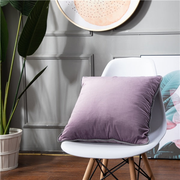 Solid Home Decor Sofa Cushion Cover For Chair Living Room Soft Velvet Pink Grey Yellow Throw Pillow Cover 45X45cm Pillowcases - Mia & Stitch