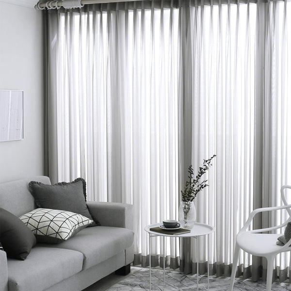Solid Sheer Curtains Japanese and Korean Bedroom Decorations Kitchen Tulle Window Curtain Living Room - Mia & Stitch