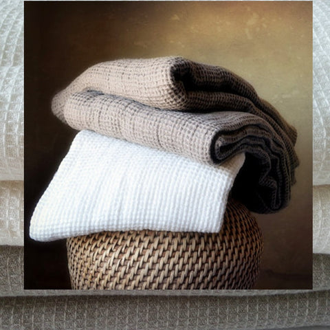 Honeycomb and Herringbone Jacquard French Linen Blanket Throws - Mia & Stitch