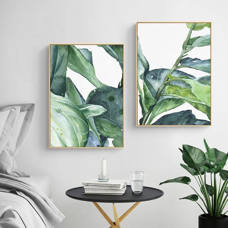Watercolor Green Leaves Poster Home Decor Abstract Minimalist Painting Canvas Prints Wall Art Canvas Painting Unframed Mia Amp Stitch