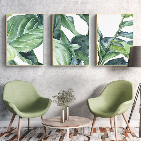 Watercolor Green Leaves Poster Home Decor Abstract Minimalist Painting Canvas Prints Wall Art Unframed