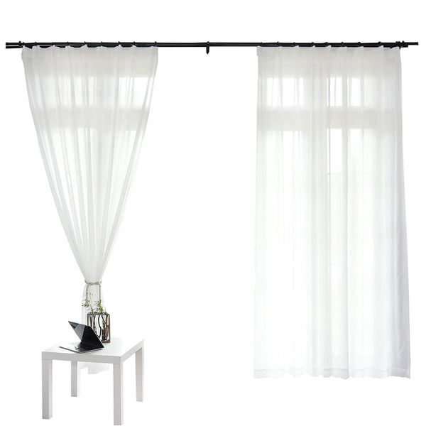 White Tulle Curtains for Living Room Decoration Modern Chiffon Solid Sheer Voile Kitchen Curtain - Mia & Stitch