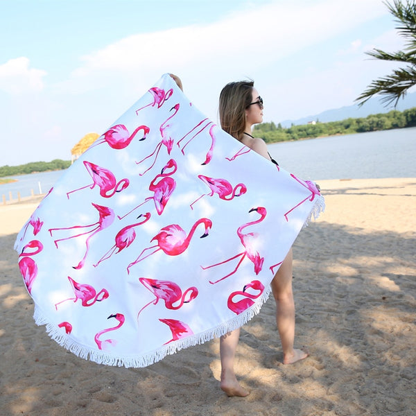 Flamingo 450G Round Beach Towel With Tassels Microfiber 150cm Picnic Blanket Mat Tapestry - Mia & Stitch
