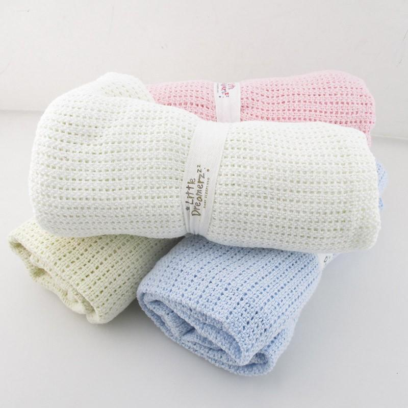 Cotton Crochet Perforated Baby Blanket Nursery Kids Bedding - Mia & Stitch
