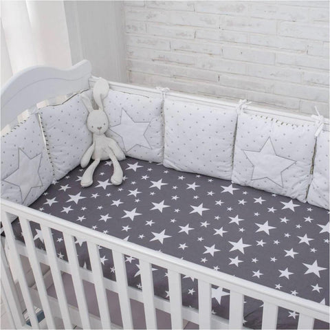 Star Crib Nursery Room Soft Protective Bumper for Newborn & Baby Kids Decor - Mia & Stitch