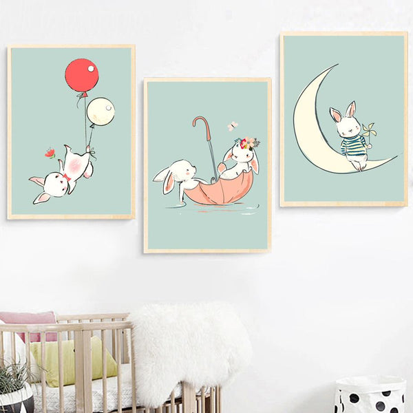 Kids Rabbit & Balloons Illustrations Gifts Wall Art Canvas Decorative Pictures Poster Print Wall Art Room Kids Decor - Mia & Stitch