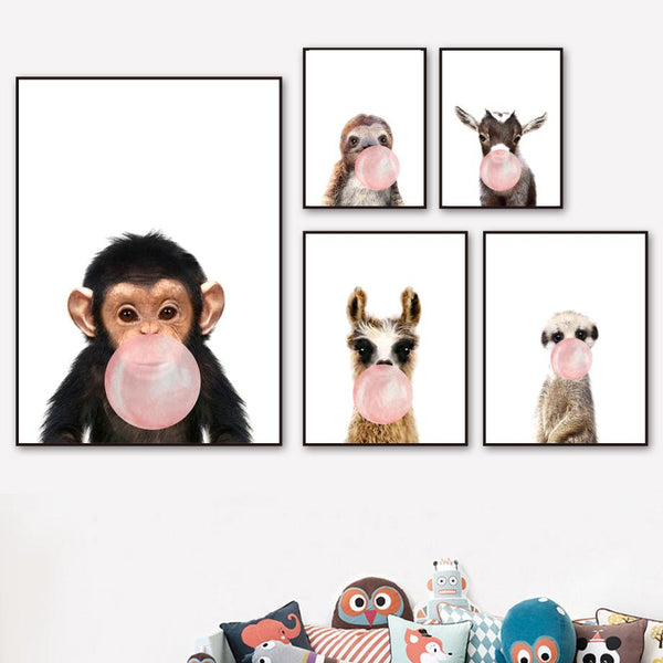 Kids Animals Bubble Gum Girls  Boys Gifts Wall Art Canvas Decorative Pictures Poster Print Wall Art Room Kids Decor - Mia & Stitch