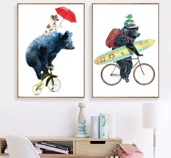 Kids Animals on Bicycles Gifts Wall Art Canvas Decorative Pictures Poster Print Wall Art Room Kids Decor - Mia & Stitch