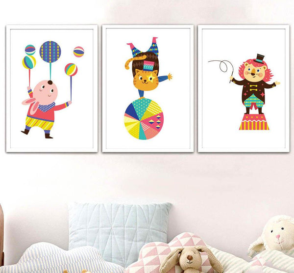 Kids Animals Circus Gifts Wall Art Canvas Decorative Pictures Poster Print Wall Art Room Kids Decor - Mia & Stitch