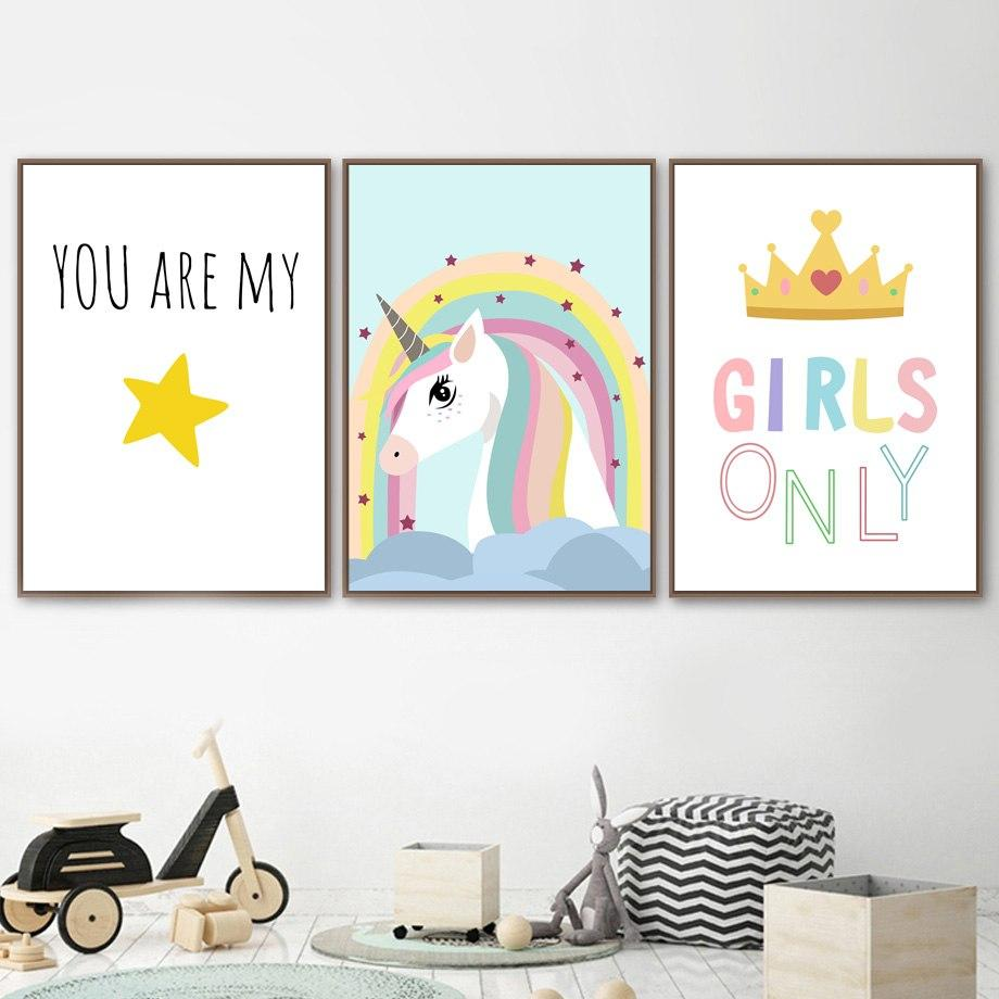 Kids Unicorn Quote Illustration Gifts Girl Wall Art Canvas Decorative Pictures Poster Print Wall Art Room Kids Decor - Mia & Stitch