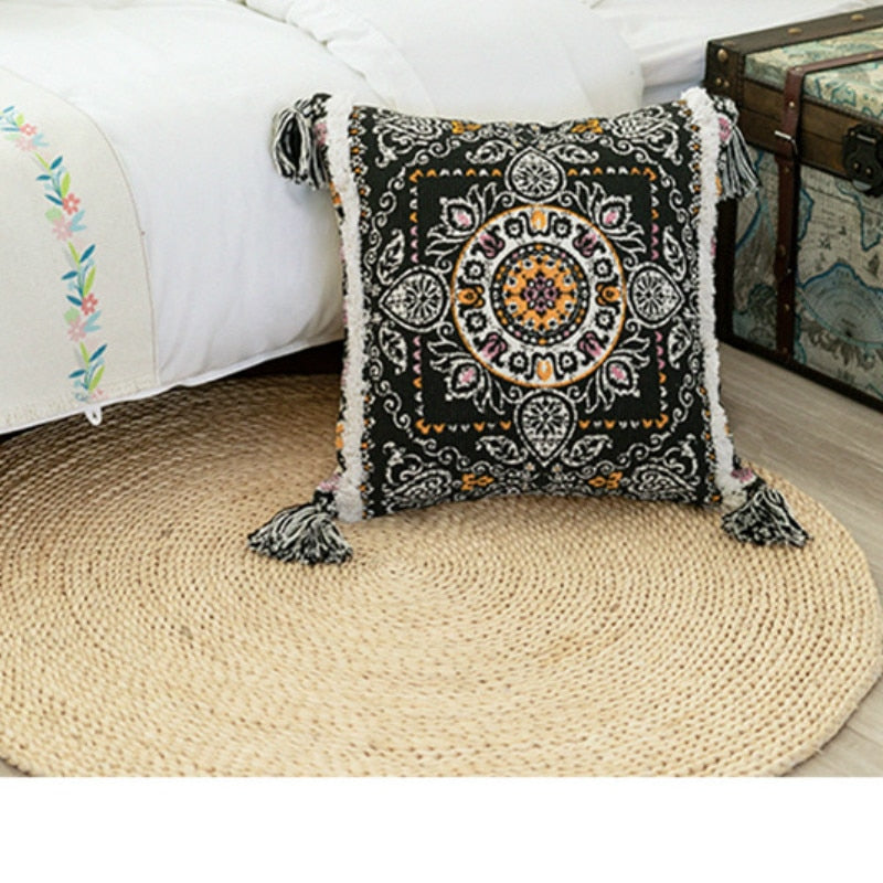 cojines decorativos para sofa Morocco geometric black and white tufted tassel pillowcase christmas pillow case - Mia & Stitch