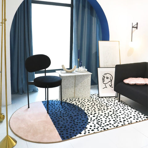 Modern Pink & Blue with Black Dots Rug | Carpet - Mia & Stitch