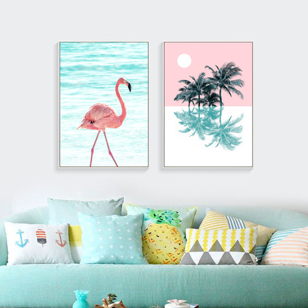 Flamingo and Palm Tree Gifts Girl Wall Art Canvas Decorative Pictures Poster Print Wall Art Room Kids Decor - Mia & Stitch