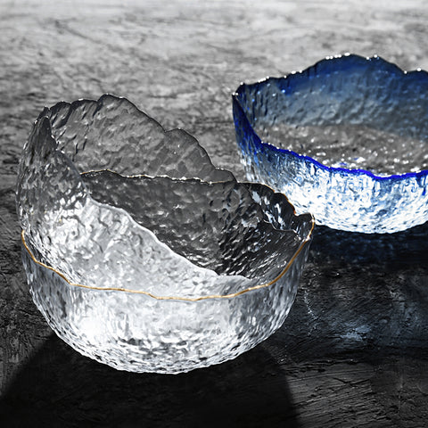 Textured Glass Salad Decorative Bowls Tableware Home Accessories - Mia & Stitch