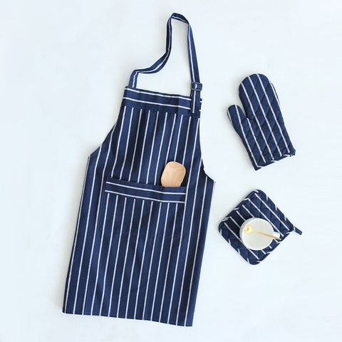 Stripy Navy Blue & White Four Piece apron Kitchen Cooking Set Home Accessories - Mia & Stitch