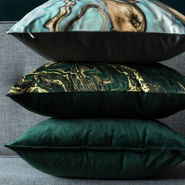 Cushion Cover Decorative Pillow Case Modern Luxury Shiny Marbling Soft Velvet Coussin Sofa Chair Bedding Decorating - Mia & Stitch