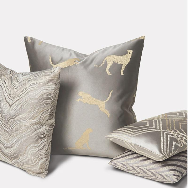 Cushion Cover Decorative Pillow Case Modern Simple Leopard Gray Luxury Art Coussin High Density Fabric - Mia & Stitch