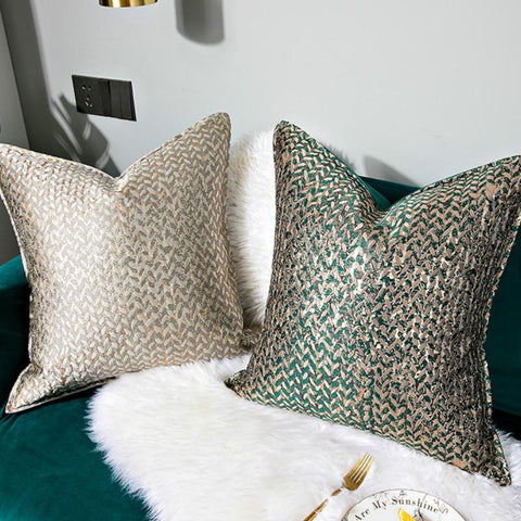 Cushion Cover Decorative Pillow Case Modern Simple Luxury Leaf Jacquard Champagne Coussin Sofa Chair Square Bedding - Mia & Stitch
