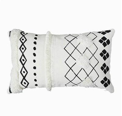 Cushion Cover Decorative Waist Pillow Case Nordic Geometric White Black Lines Tufted Tassels Modern Sofa Chair Cousin - Mia & Stitch