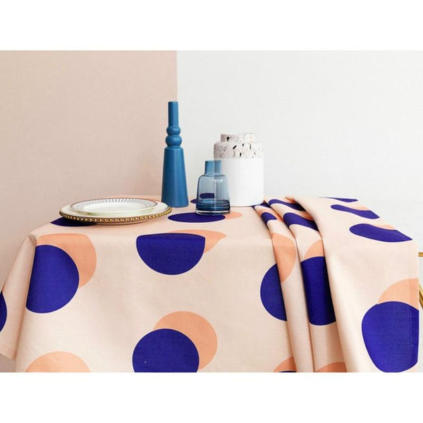 Modern Retro Blue Polka Dot Tablecloth for Home, Party, Table Cover Housewarming Gift Ideas - Mia & Stitch