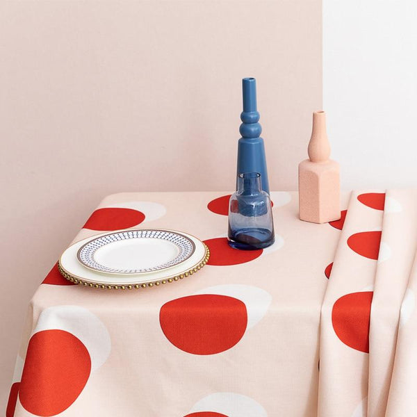 Modern Retro Red Polka Dot Tablecloth for Home, Party, Table Cover Housewarming Gift Ideas - Mia & Stitch