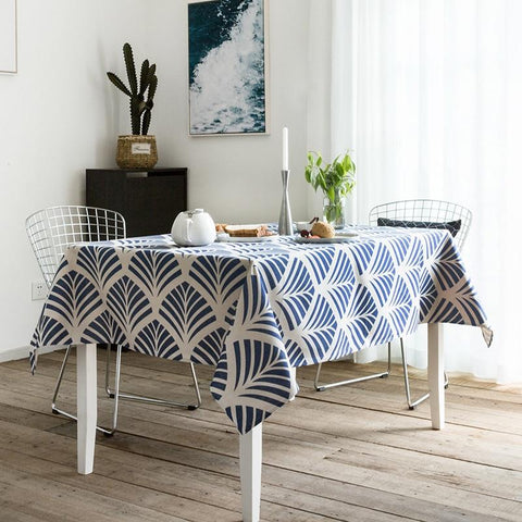 Tablecloth Party Table Cover Fabric Modern Geometric Blue Print Fashion Desk Decorate Heavy Linen Cotton Blend Textile - Mia & Stitch