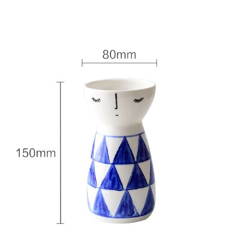 Ceramic hand painted japanese style low bone doll type tabletop vase - Mia & Stitch