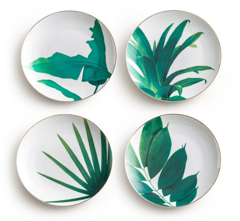 Set of Four Tropical Plant Plates Tableware Home Accessories - Mia & Stitch