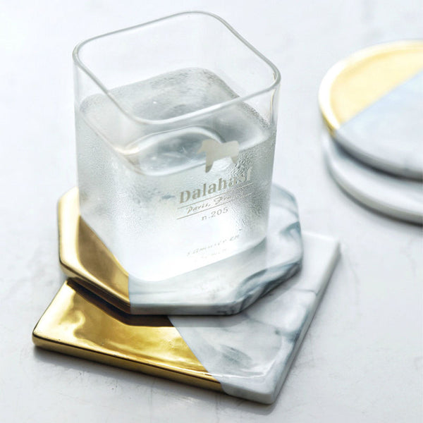 Set of Four Marble and Gold Colored Geometric Coasters - Mia & Stitch