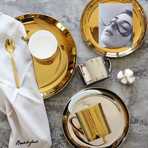 Ceramic Gold & Silver Dinner Plate | Bowl - Mia & Stitch