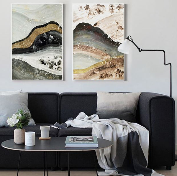 Gold quicksand mountain abstract landscape canvas print - Mia & Stitch