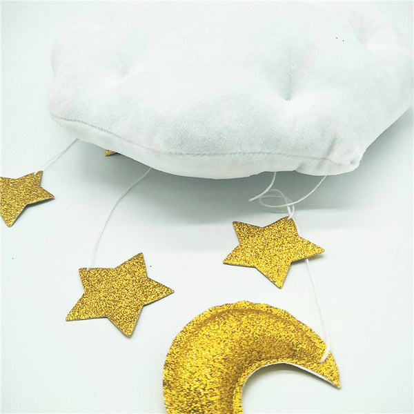 Soft Moon Cloud and Stars Baby Nursery Boy or Girl Hanging Mobile Kids Decor - Mia & Stitch
