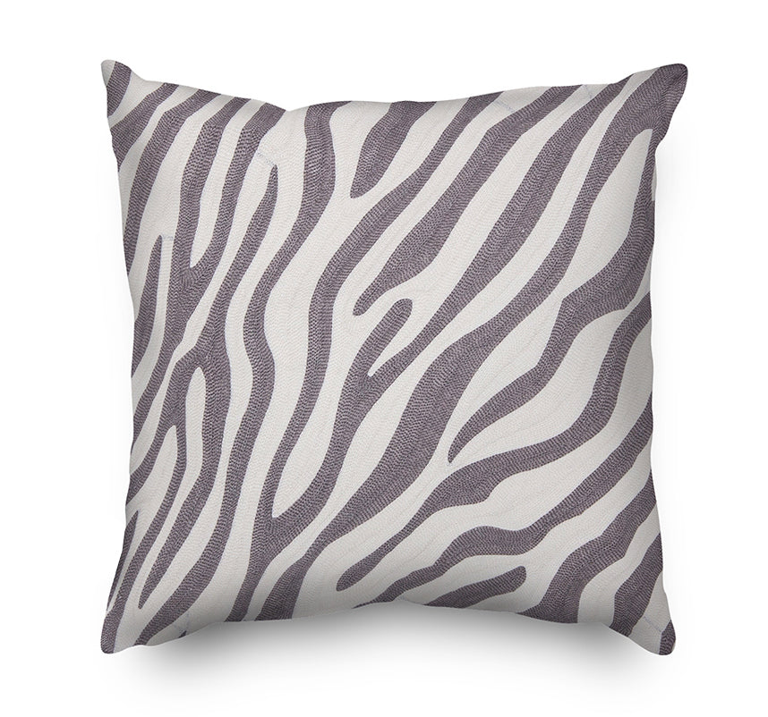 Animal Pattern Embroidery Cushion Cover  - Grey and White Zebra - Mia & Stitch
