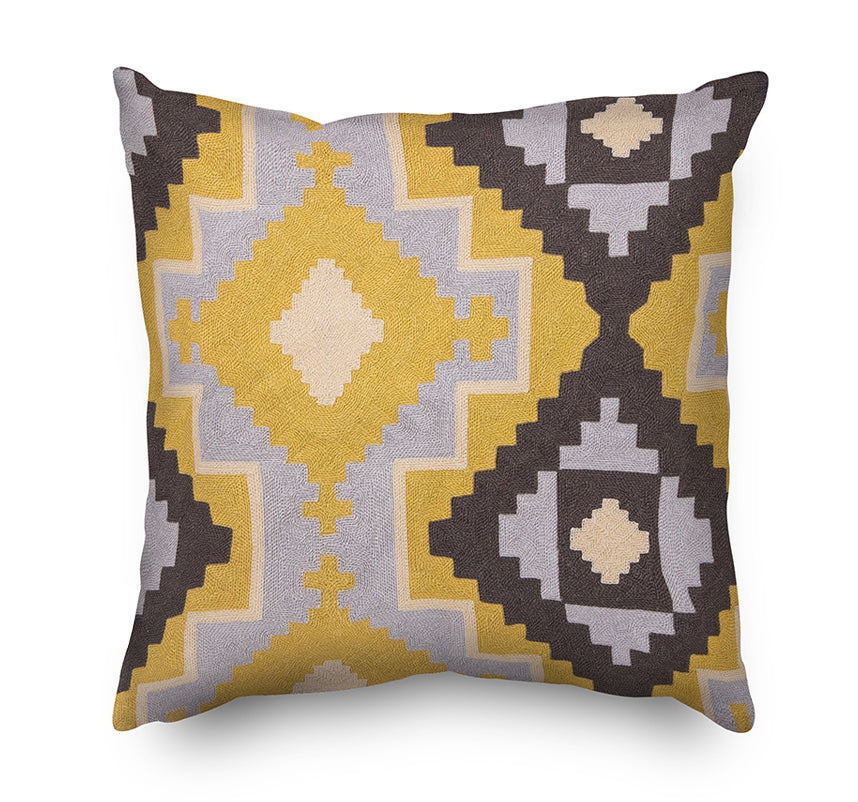 Geometric Pattern Embroidery Cushion Cover  - Grey and Yellow - Mia & Stitch