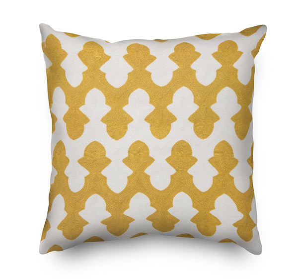 Yellow Geometric Pattern Embroidery Cushion Cover  - Mustard Yellow and White - Mia & Stitch