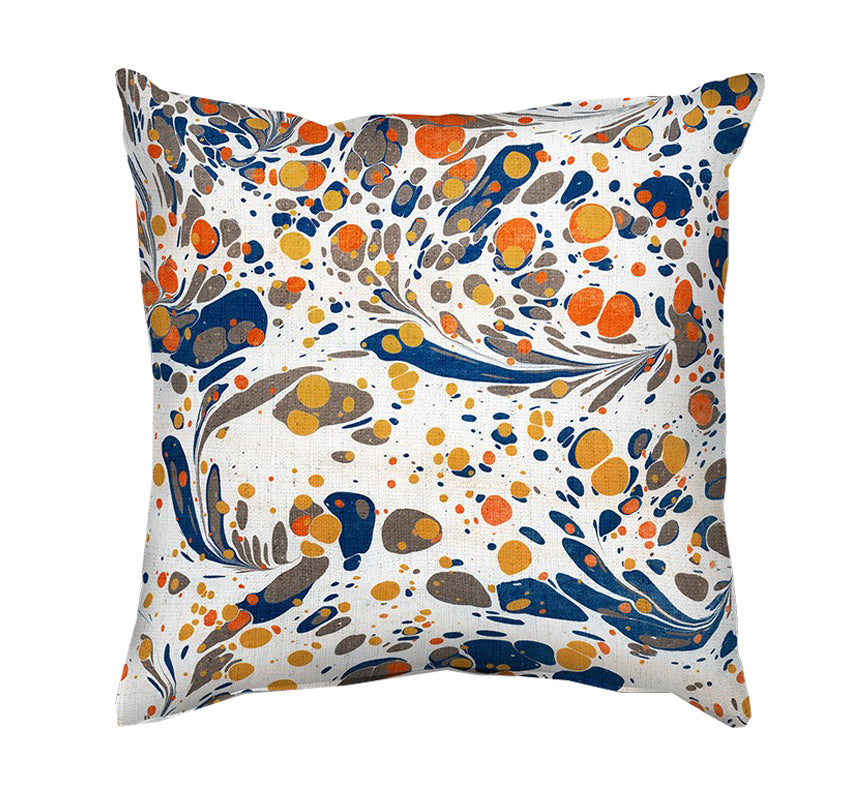 Printed Cushion Cover - Marble Painting in White, Orange and Blue - Mia & Stitch