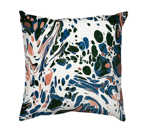 Printed Cushion Cover - Marble Painting in White, Pink and Blue - Mia & Stitch
