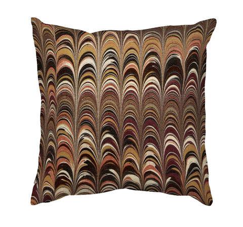 Printed Cushion Cover - Marble Painting in Browns and Peach - Mia & Stitch