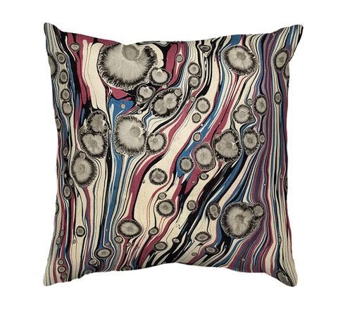 Printed Cushion Cover - Marble Painting in Browns, Red and Blue - Mia & Stitch