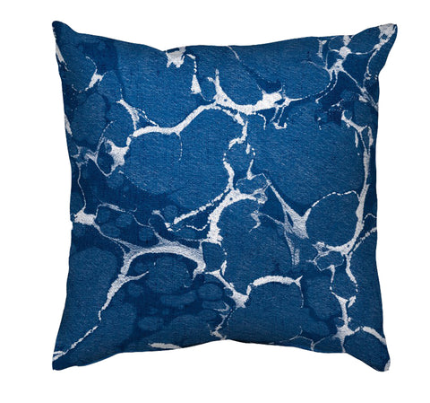 Printed Cushion Cover - Marble Painting in White and Blue - Mia & Stitch