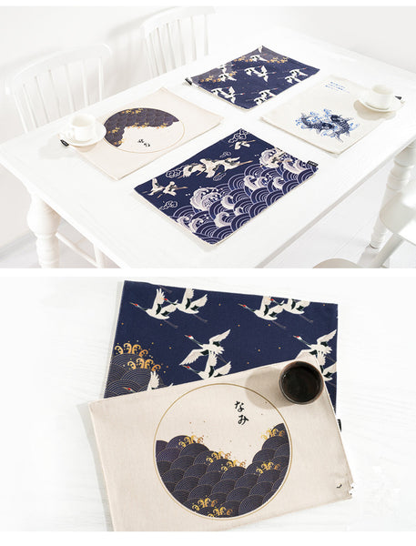 Japan Style Cotton Linen Placemats Ukiyoe Prints Dining Table Mats Thick Heat Insulated Pads Home Accessories - Mia & Stitch