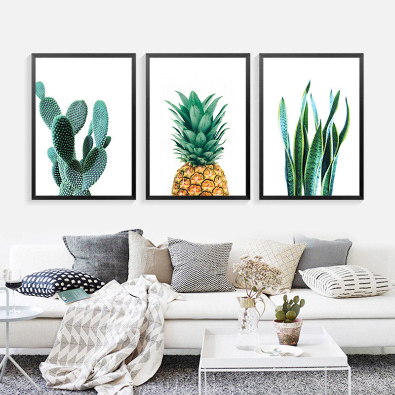 cactus pineapple plant wall art canvas decorative pictures poster